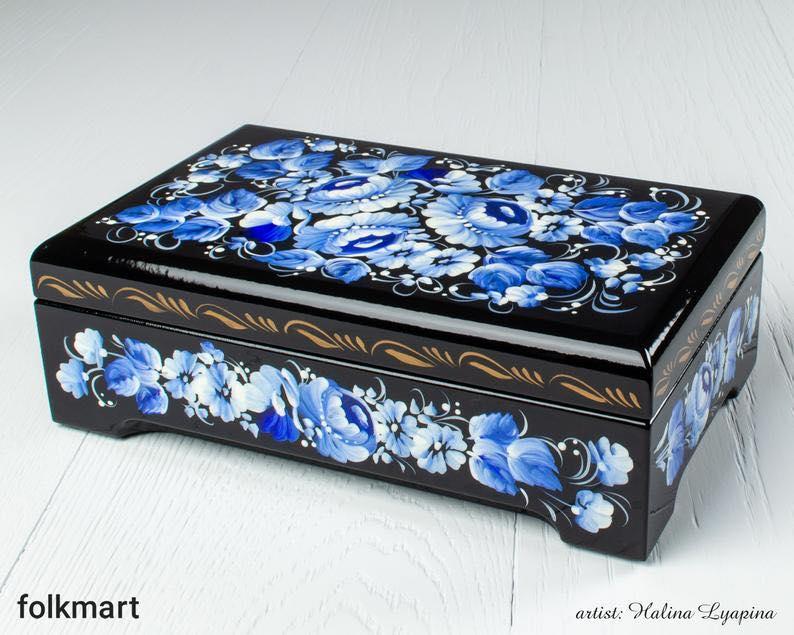 Handmade Hand-painted Blue Flower Treasure Chest