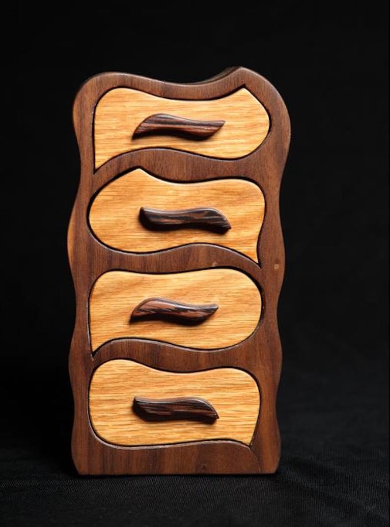 4-Drawer Mini Dresser Walnut Wood Jewelry Boho Chest