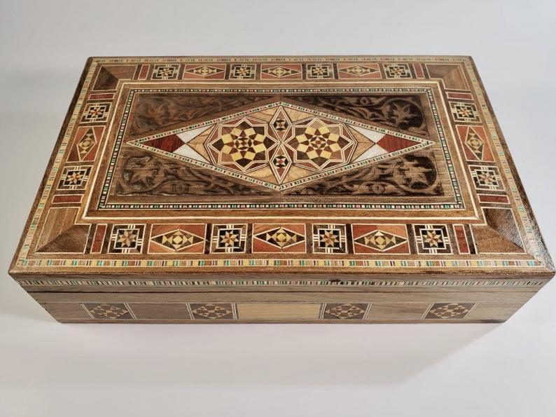 Marquetry Inlaid Walnut Wood Memory Box