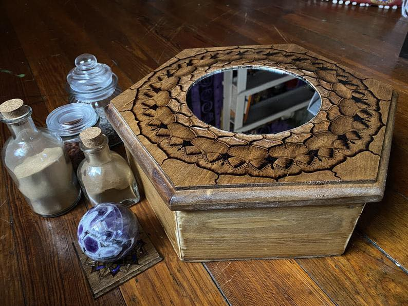 Handmade Hexagon Mirror Box