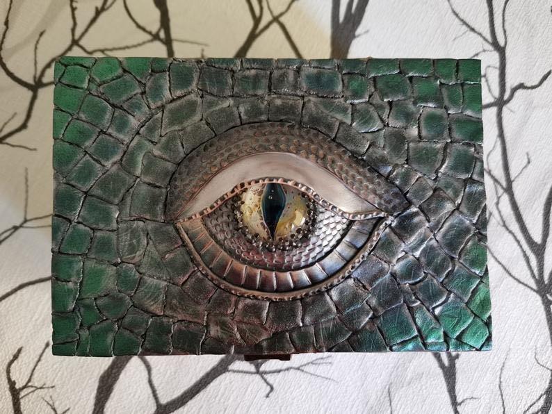 Dragon Eye (with polymer clay decor) Jewelry Box
