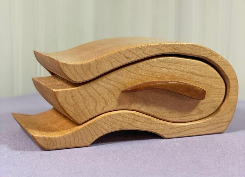 Wave Design Maple Jewelry Box