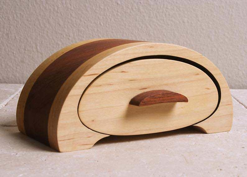 Maple and Mahogany Wooden Jewelry Box