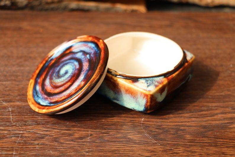 Square Ceramic Swirl Jewelry Box