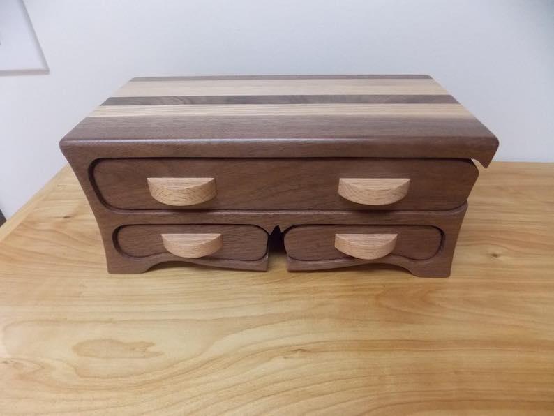 Large Handmade Walnut and Oak Jewelry Box
