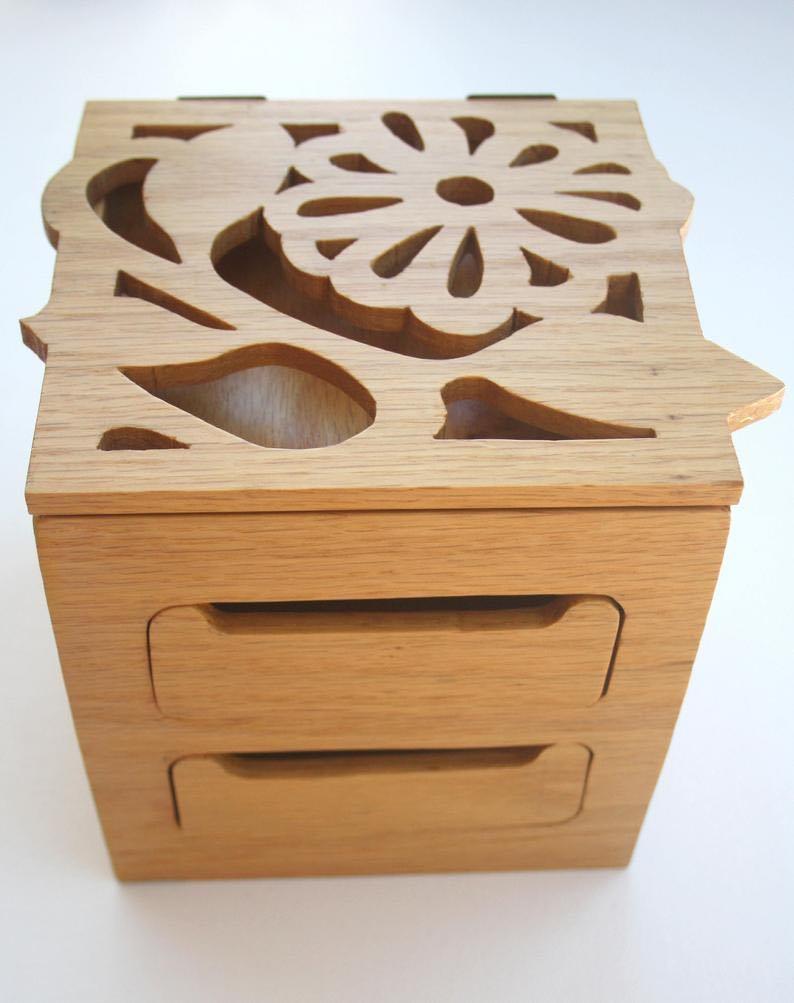 Flower Scroll Handmade Wooden Keepsake Box
